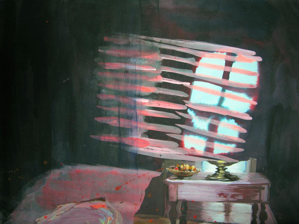 """A Single Room 11"""" x 15"""" gouache & watercolor"""