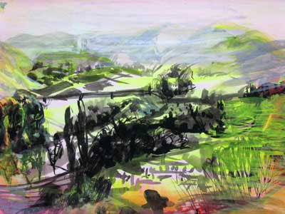 "Spanish Valley 11"" x 18"" ink & gouache"