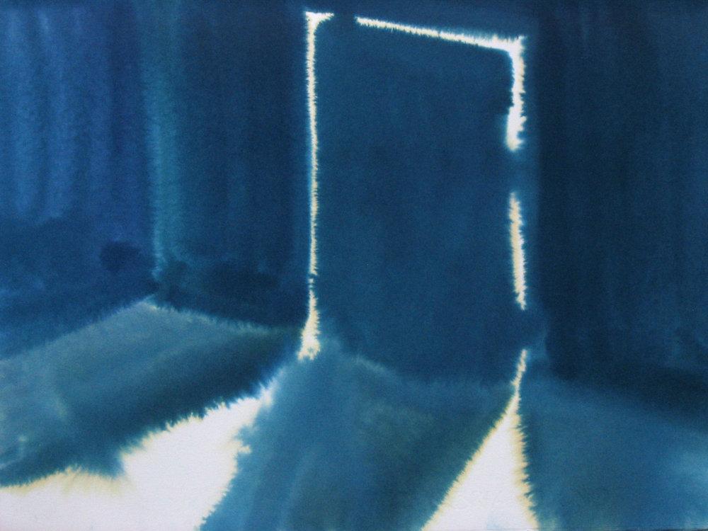 """Blue Door 11"""" x 15"""" watercolor"""