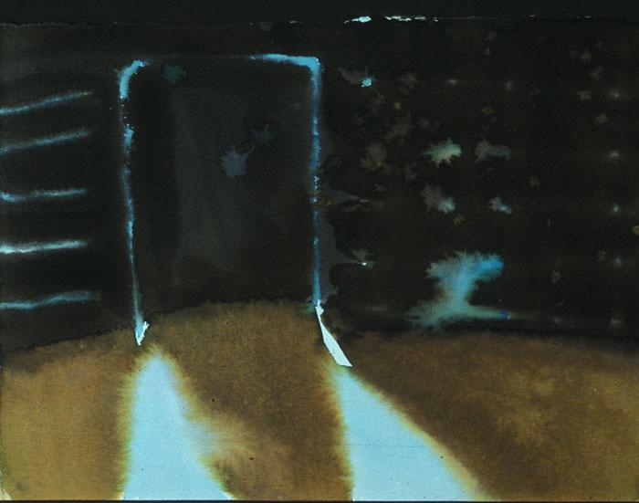"""Turquoise Black Door 11"""" x 18"""" watercolor"""
