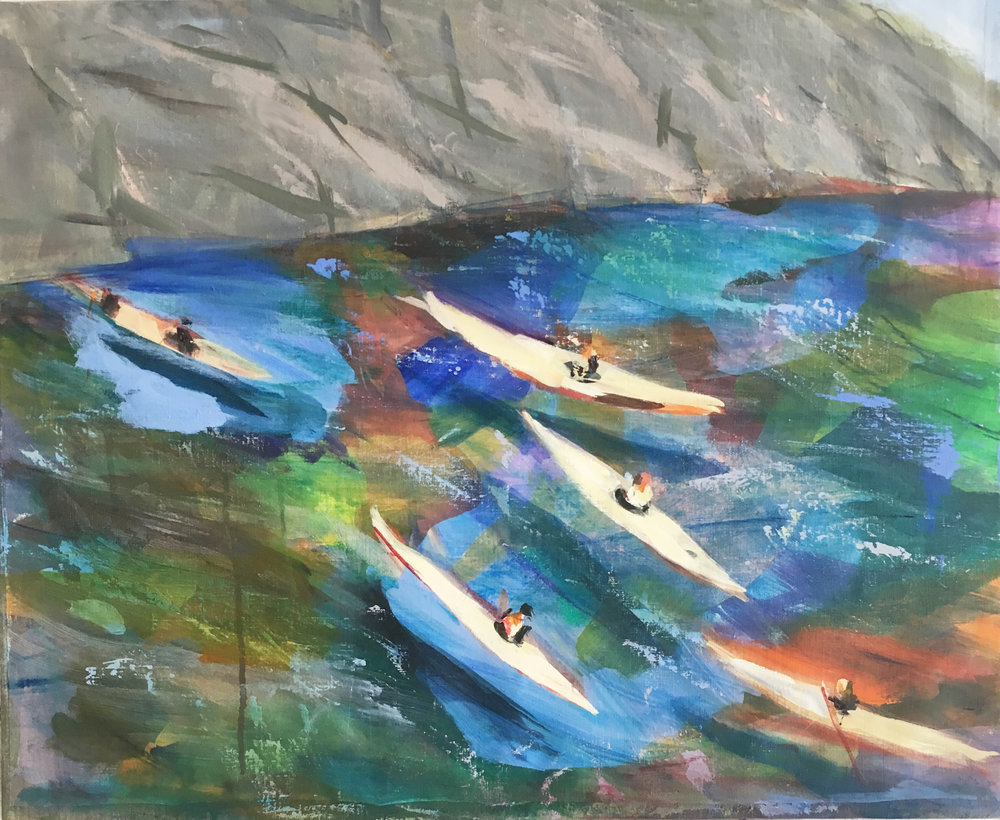 "Canoes in Calanques 23"" x 28"" acrylic on linen"