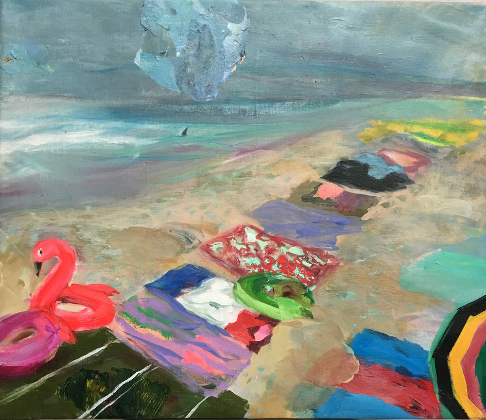 "Most Popular Beach in Cassis 23"" x 29"" acrylic on linen"