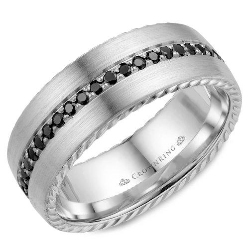 Crown Ring Black Diamond Rope Men S Wedding Band Providence Diamond