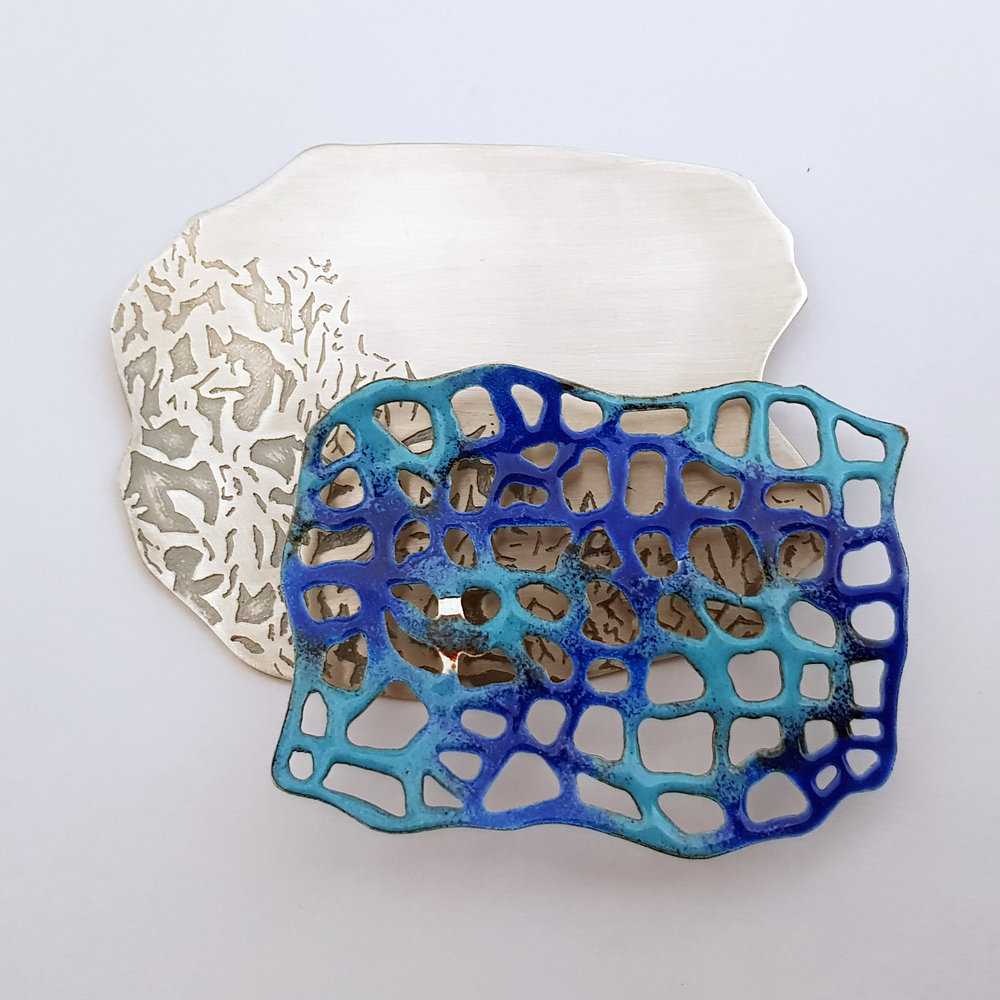 Brooch - Etched Sterling Silver / Enameled Silver