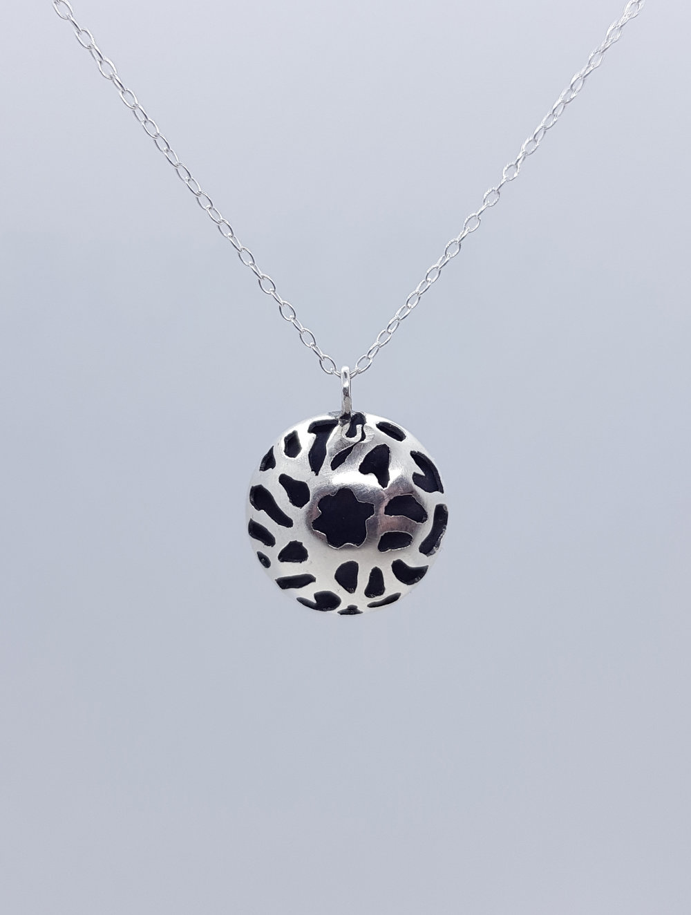 £40 Domed Necklace - Sterling Silver Oxidised