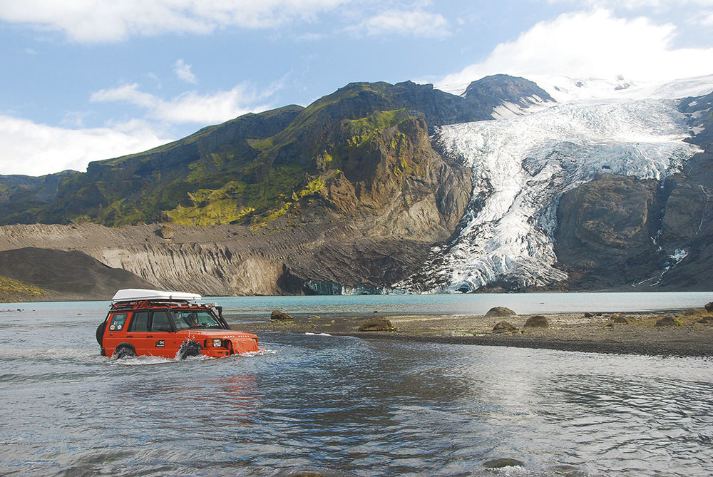 The Land Rover crossing a river in Iceland