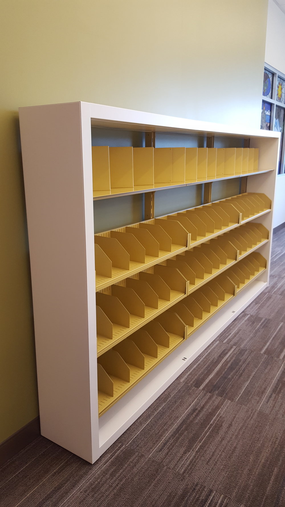 Single Faced White and Yellow Shelving.jpg