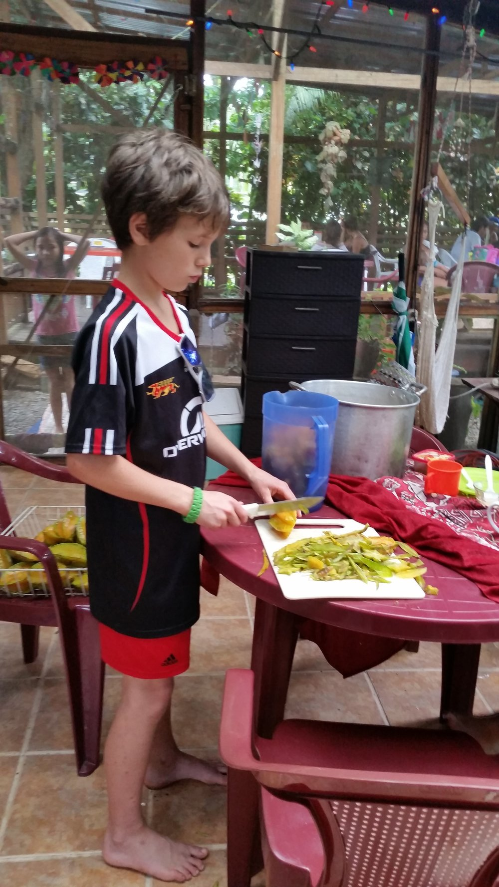 Young Volunteer Eli Halley chops star fruit for batidos.