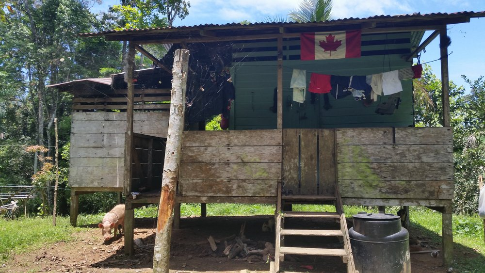 On the Bribri reserve.   A hilltop home on a small clearing in the rainforest. Here learning happens without modern comforts such as plumbing or electricity.