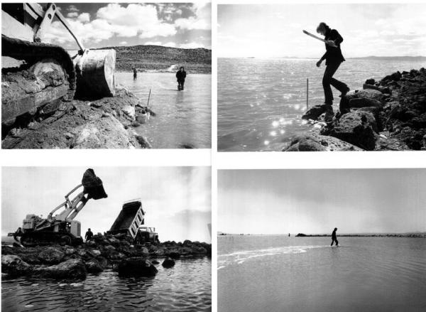 Caption Constructing the Spiral Jetty, 1970. Photographs by Gianfranco Gorgoni.  © Estate of Robert Smithson, New York /DACS London, 2007.
