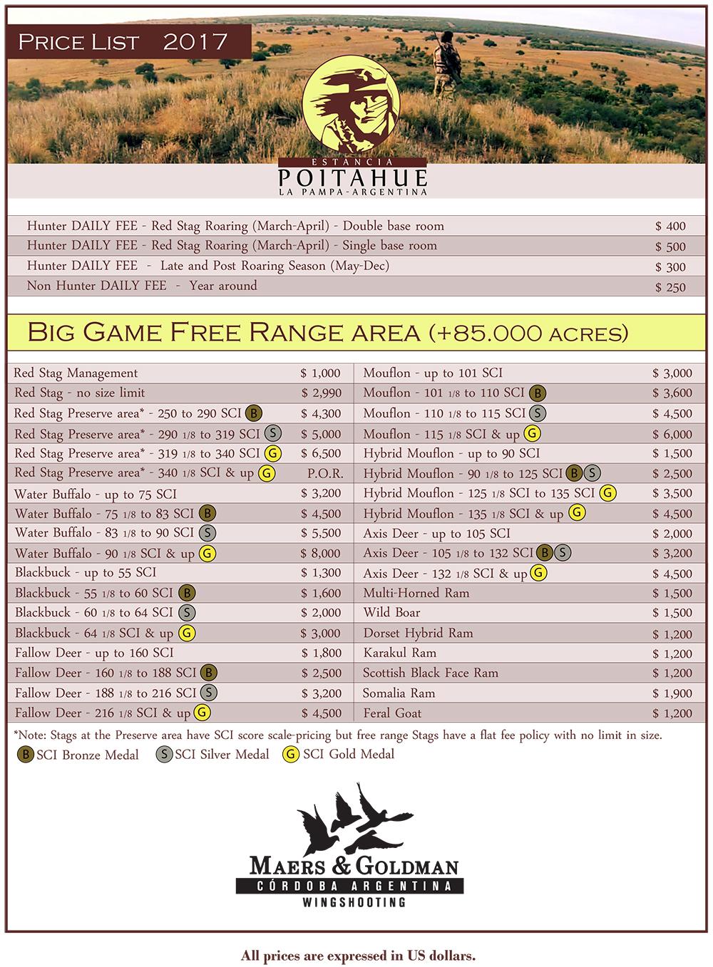 2017 Price List