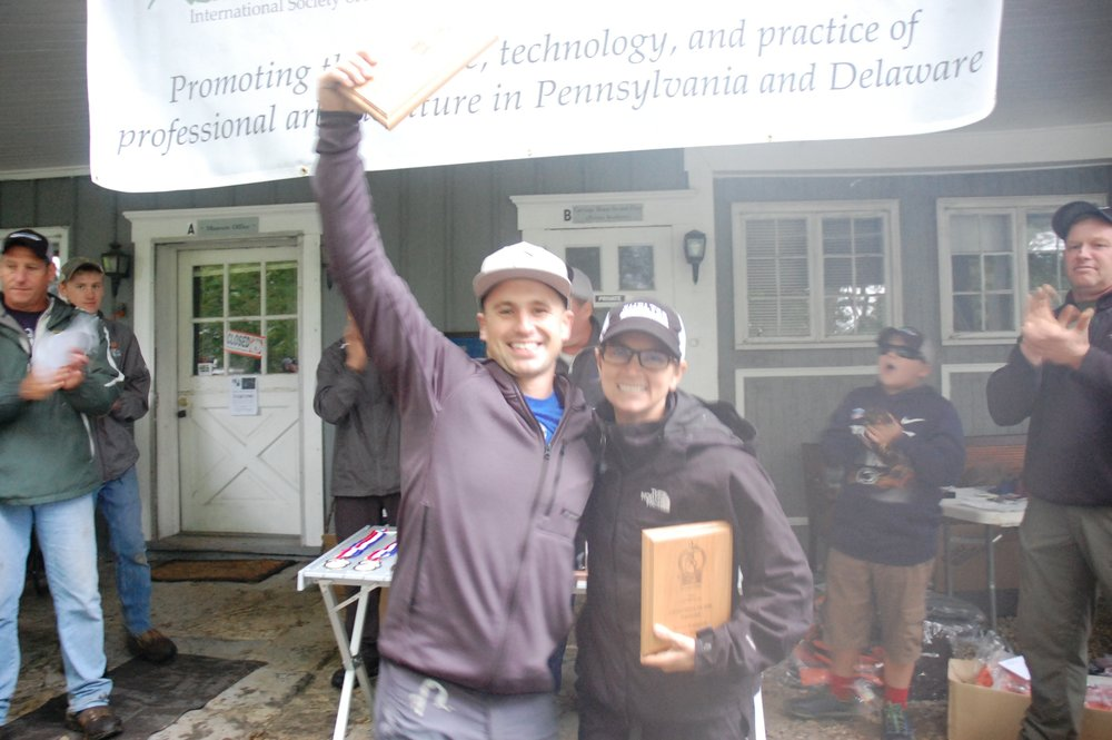 Jake Riggs and Maria Tranguch, overall winners of the preliminary events at Penn-Del this year, celebrate their honors of winning first place in the Team event at the ITCC earlier this year in Columbus, Ohio.