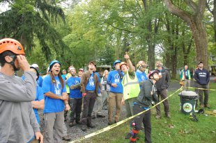Jim Roach walks climbers through the details of the Work Climb Event.