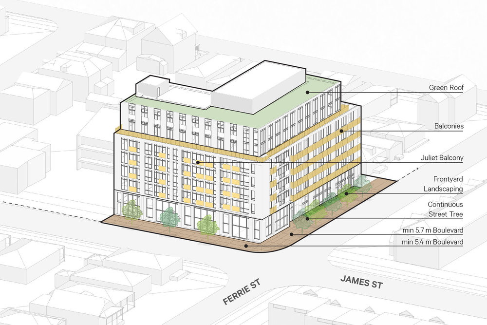 Juliet balconies are provided for residents fronting James Street North on the 2nd-6th floors while conventional balconies are provide to residents fronting Ferrie Street and for units located on the 7th and 8th floors.