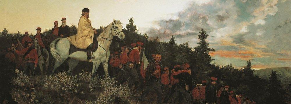 Garibaldi at Mentana, 3 November 1867.  Wounded while leading his army on Rome, Garibaldi and his men temporarily retreated.