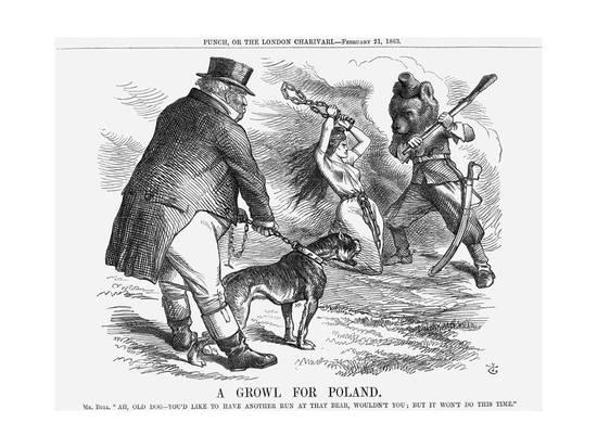 """British cartoonists imagined that England need only """"growl"""" at Russia to save Poland."""