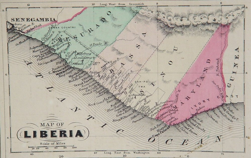 This 1867 map of Liberia shows the location of Maryland (in pink), formerly the Republic of Maryland governed by Boston Drayton, but by the time this map was made, a county of Liberia.