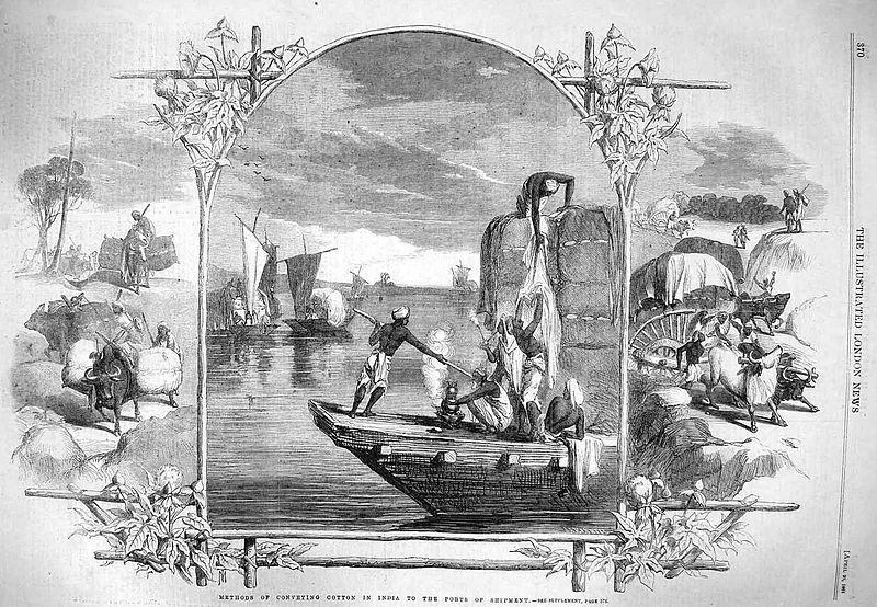 The  Illustrated London News  pictured the transportation of cotton in India in 1861.