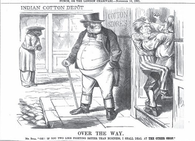 Great Britain, annoyed by the quarreling cousins, turns to India for cotton. Indians may not have been solicitous of British business as this London cartoon suggests.