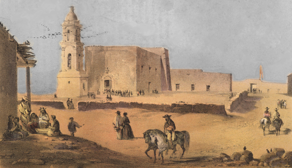 A. de Vauducourt painted  The Plaza and Church of El Paso  in the 1850s. The mission Nuestra Senora de Guadalupe de los Mansos was over two hundred years old when Confederate soldiers headed to New Mexico.