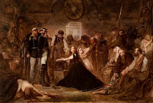 Polonia, 1863,  by Jan Matejko, pictured Poland as a chaste woman placed in shackles and subject to Russian cruelty.