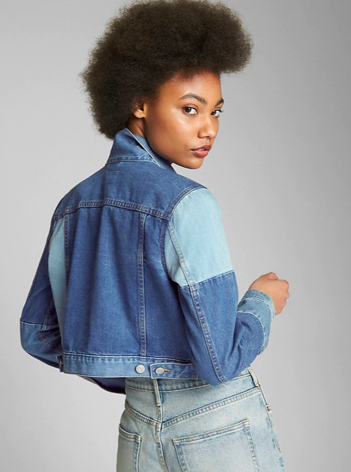 Cropped Patchwork Denim Jacket
