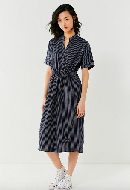 UO Pinstripe Twill Collarless Midi Dress