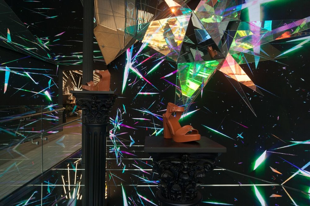 Natalia Stuyk's 'Paradise' installation in Mellisa's SoHo NYC flagship included looping wall animation & a mirrored room full of hanging stars. Expect more boundary pushing in 2019. Photo credit: heyyoudo.com