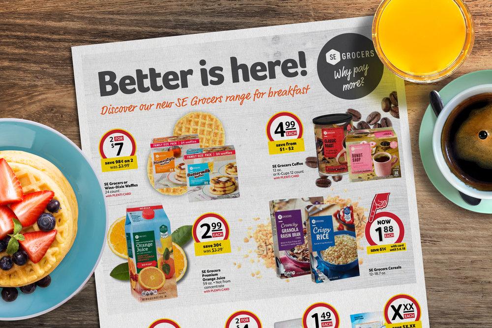 SE Grocers own brand breakfast promotion we designed for Winn-Dixie
