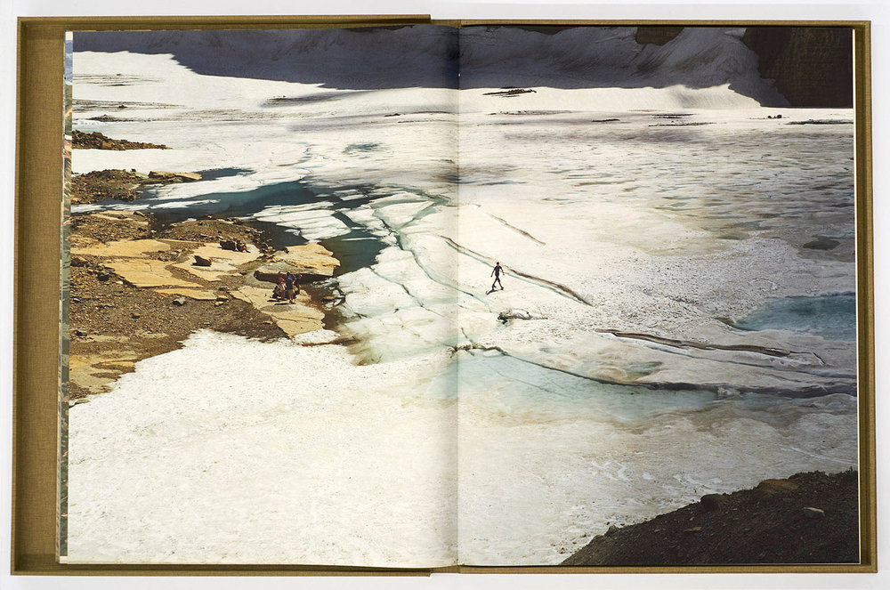 "Page spread from  The Last Glacier  Book, ""Walking on Grinnell Glacier"""