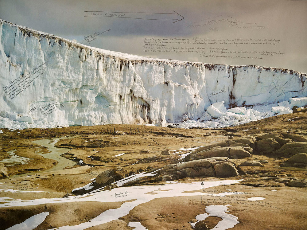 "Quelccaya Glacier, Peru. 30""x40"" 2016 , Unique collaboration with Dr. Carsten Braun Handwriting (in ink) on Pigment print on Niyodo Washi paper"