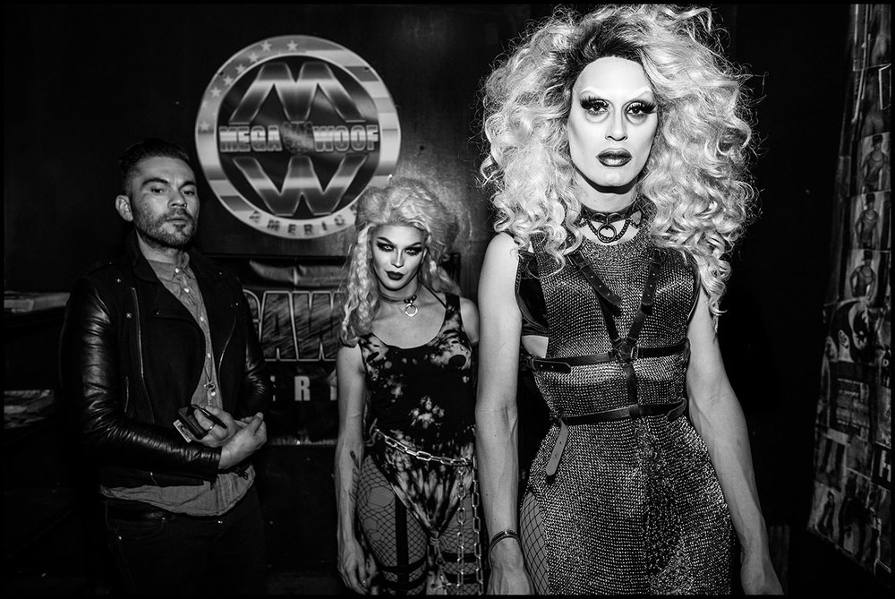 Mega Woof  (Los Angeles, CA) 2017 // Drag Queens await entry to the club.