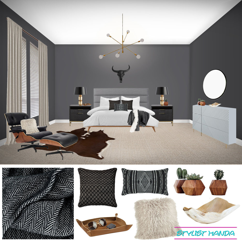 Shoppable Masculine Bedroom with Eames Lounge chair and dark saturated walls.