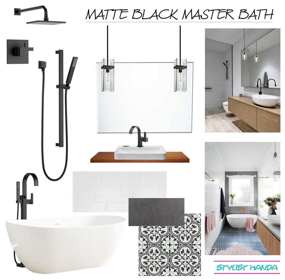 matte black bathroom design