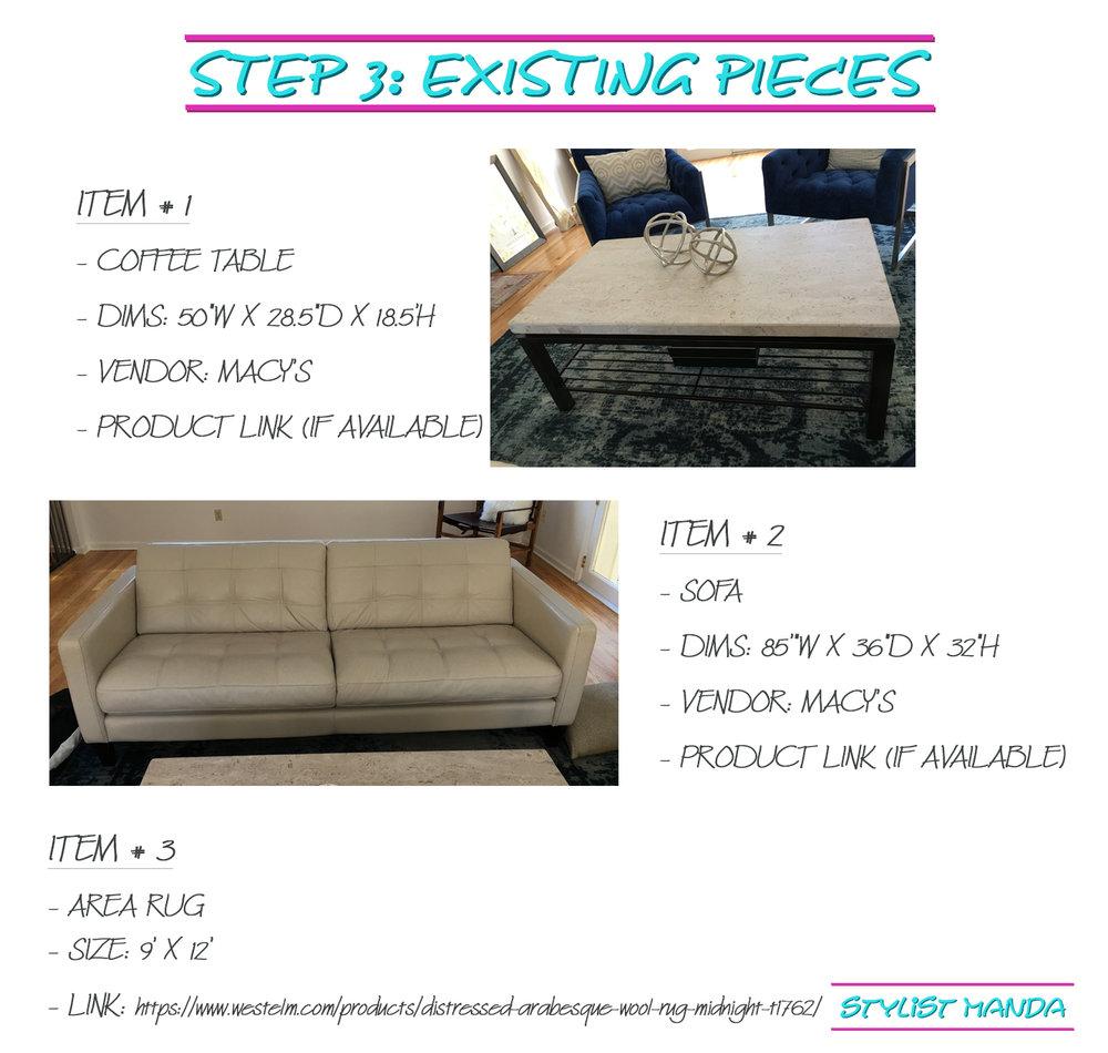 step 3 - existing pieces