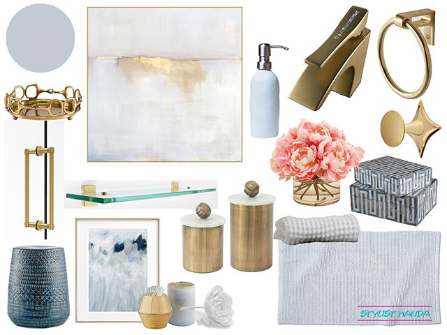 "So you know that Luxe Master Bedroom I designed awhile ago on @decoristofficial ?? WELL here are the concepts for the ensuite bathroom! ... For both of these options, I stayed within the luxe design aesthetic with varying blues and both gold and silver accents. This bathroom had mostly chrome fixtures, but she wanted to incorporate more golds. Check out the other option and double tap if you love them! #edesign .. AND OK, OK, I know I have been in super stealth mode lately, but between my workload and that hurricane situation, I just didn't have time to be social. I was trying to get it all finished early just in case I lost power, was BEGGING and crying to my almost 70 year old mom not to stay in her new house in WILMINGTON. I will say I get my stubbornness from that lil 4'-11"" woman, but let's just say I was SUPER NERVOUS! Plus my uncle wasn't leaving his house in Wilmington either, but all I can say now is THANK GOD they are a-okay! My mom needs a new roof, but other than a couple areas of fencing needing to be replaced (and minor ceiling /  insulation issues) everything is FINE. I am happy to report she even got her power back on yesterday! The area still has a lot to recover from, but they will! Meanwhile in Charlotte, I just had a TON of rain and some wind gusts."