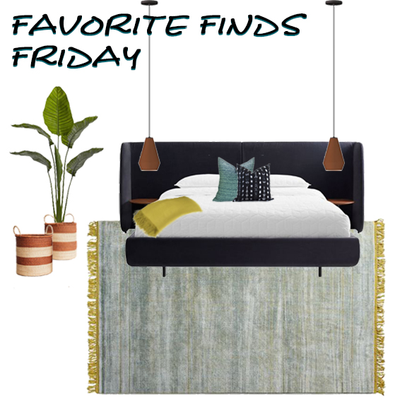 Favorite Finds Friday, a bedroom design featuring ways to update your bedroom with some colorful and funky mid-century modern pieces with masculine lines. All products have shoppable links to purchase this look. How to update your bedroom.
