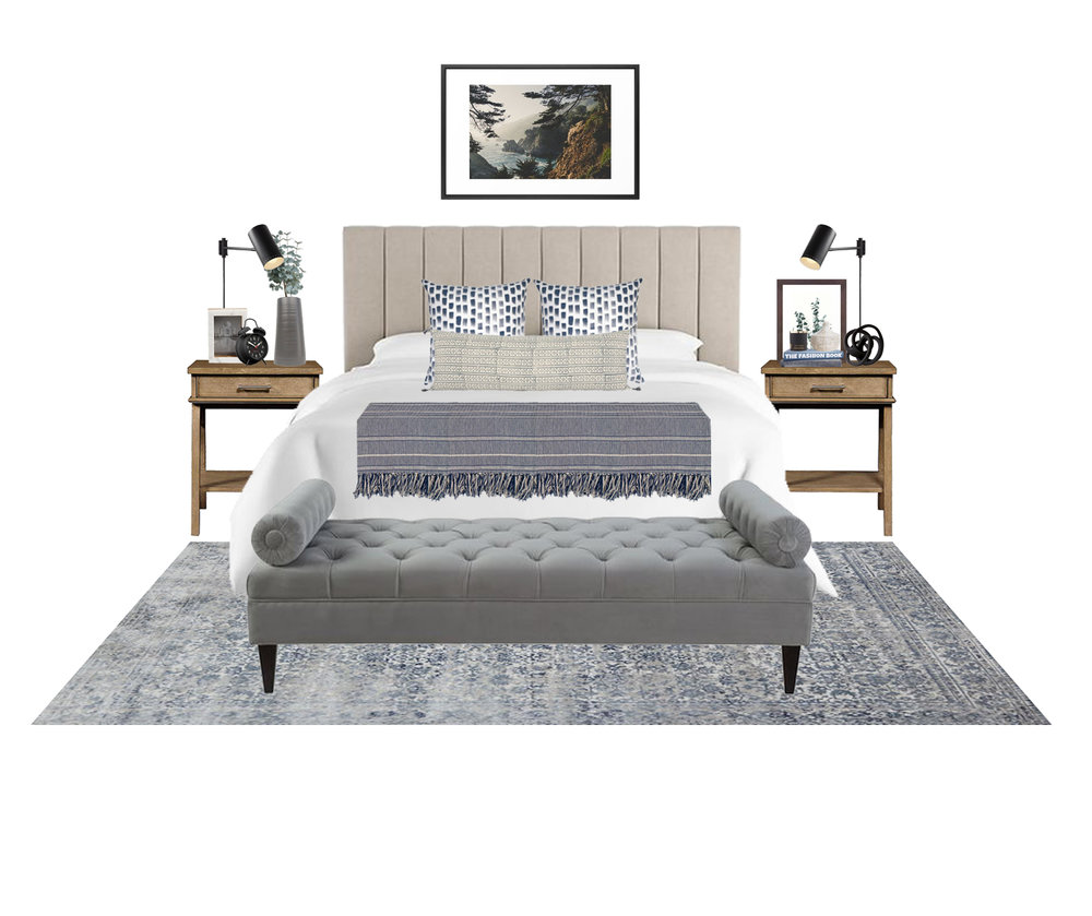 Mountain Bedroom Design for a neutral master bedroom or guest bedroom idea. Shoppable design featuring channeled headboard, plug-in wall sconces, white bedding, and a tufted bench at the foot of the bed