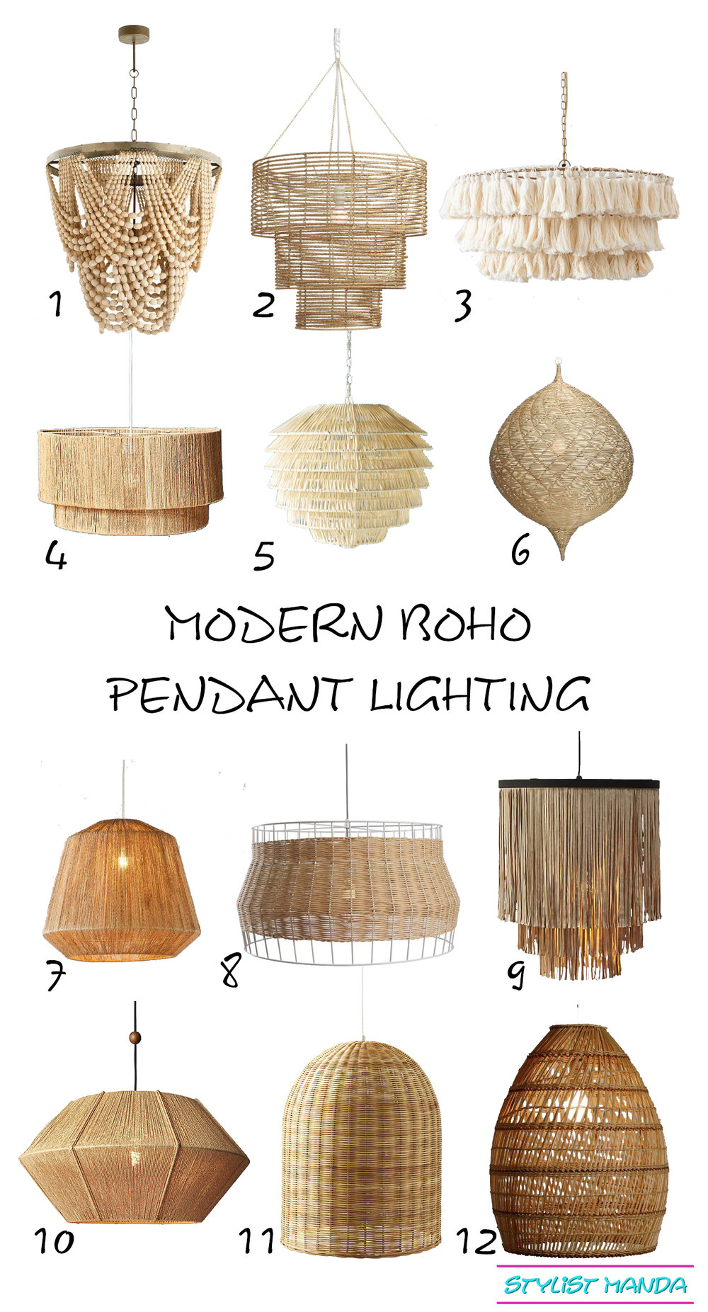 Modern Boho Pendants I love a shoppable list of my favorite modern boho lighting