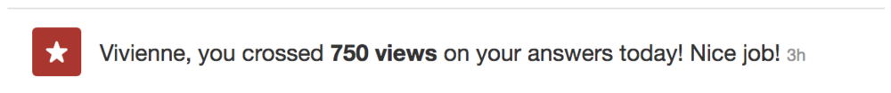 Image 1: Screenshot showing the 750 views Vivienne Black received in 3 hours on Quora.