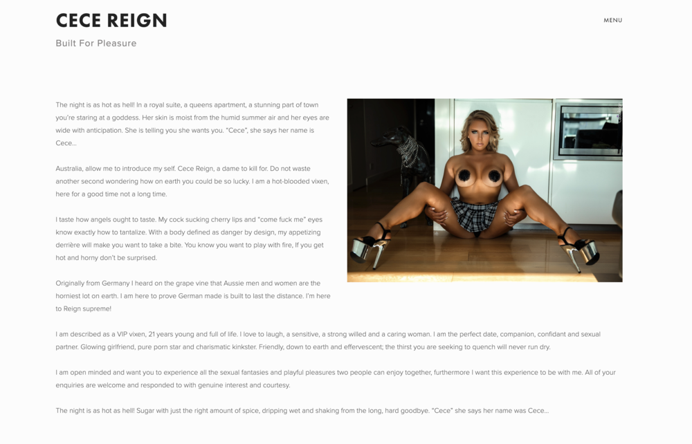 Cece Reign - Brand Start Up, Web Design and Development, Mentoring, Copywriting Services, Photographic Styling (Zoo Magazine & Penthouse Magazine).
