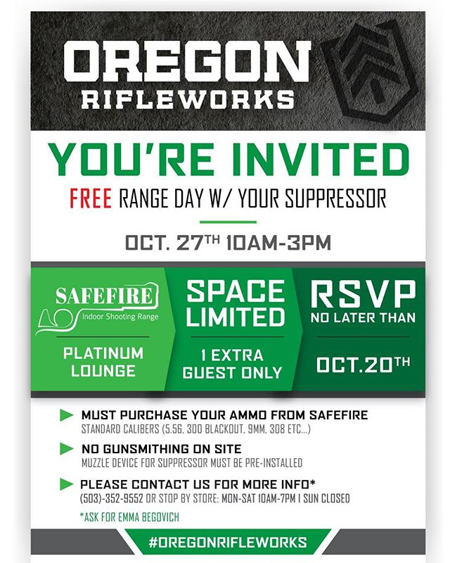 "If you have a suppressor at our store and would like to shoot with it some before you get your form 4 back, we have just the event for you! ""Meet your can day"" is going to be held at @shootatsafefire on Oct 27th. For more information, contact Emma over the phone. Our store number is in our bio.  #pdx #portland #usa #freedom #upperleft #oregon #supressor"