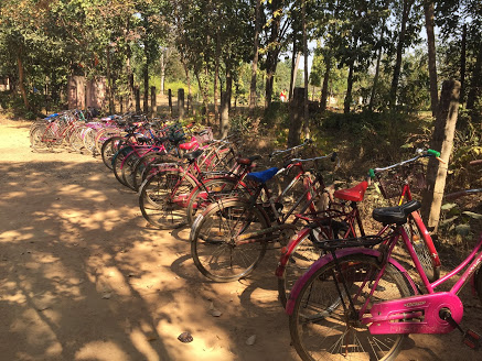 One of my favorite photos I took in January 2018 of all the girl's bikes lined up at the beginning of their school day.