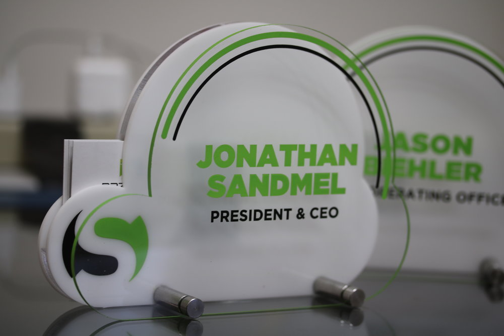 Nameplate/Business Card Holder - designed with the imagery of our customer in mind.  Contact us for design and pricing information.