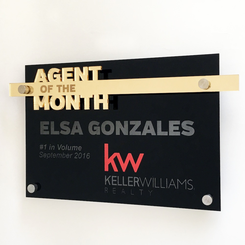 Keller Williams - Agent of the Month - Recipient award  $45