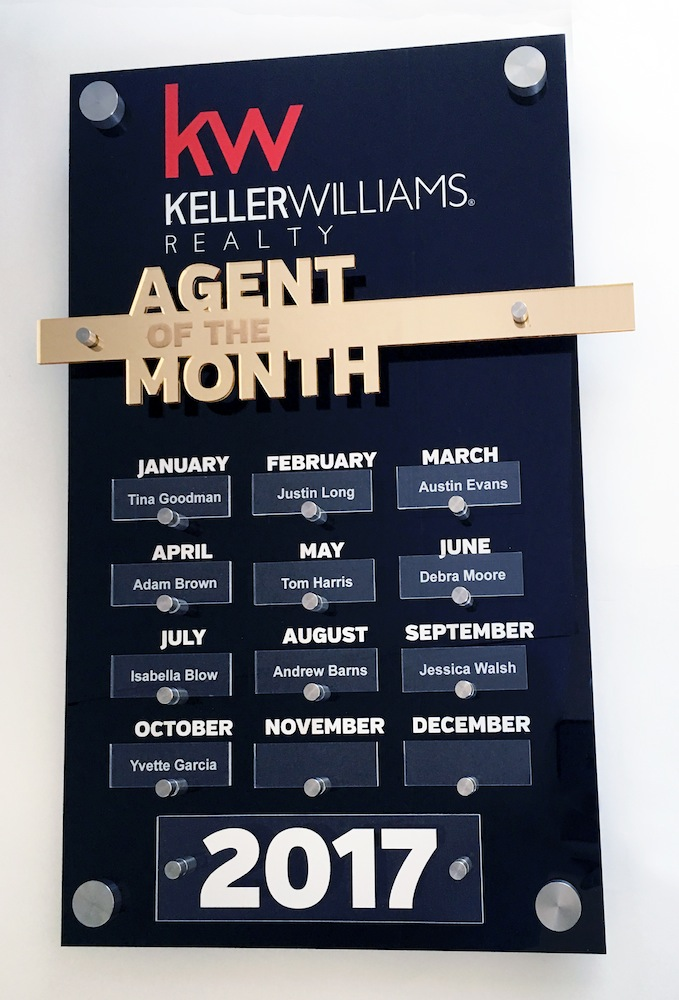 Keller Williams - Agent of the Month Plaque   $150.00