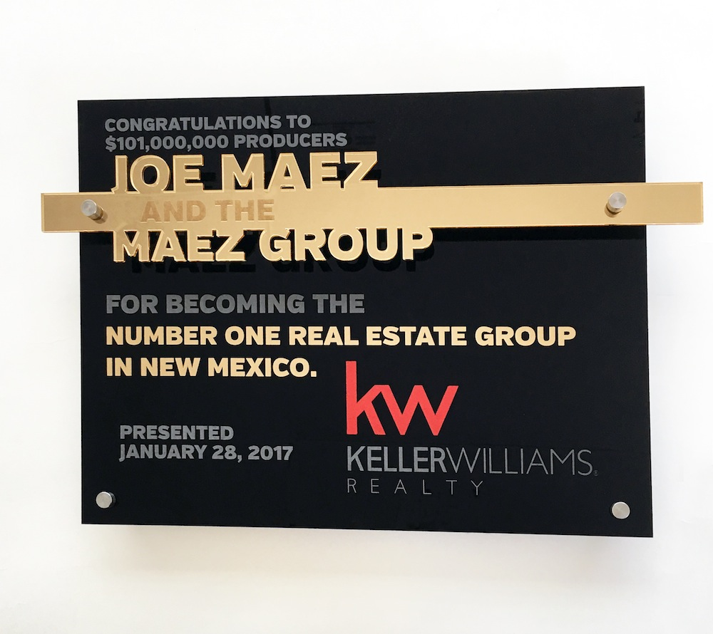 Keller Williams - Custom award   $90