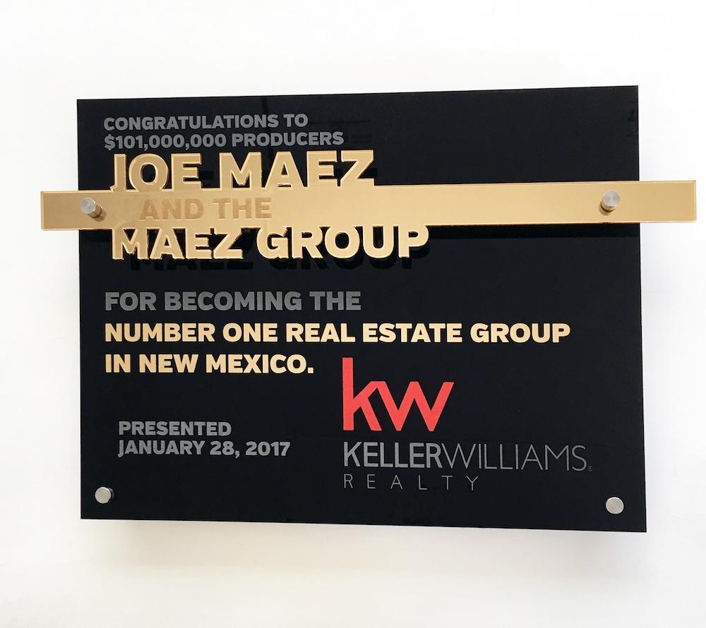 Keller Williams - Custom award   $90