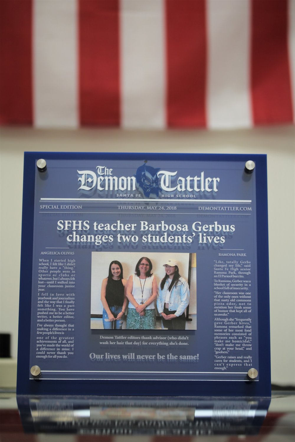 Santa Fe High School - Journalism Teacher Appreciation Plaque  Contact us for pricing information.