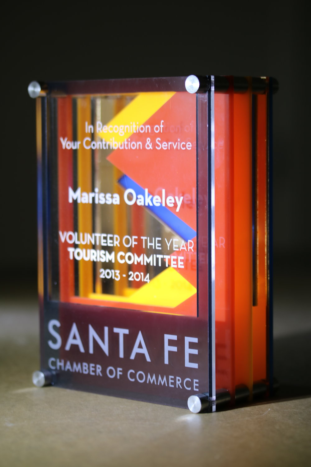 Santa Fe Chamber of Commerce - Volunteer of the Year Award  Contact us for pricing information.